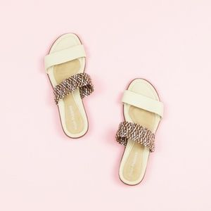 Hush Puppies Nishi Leather Slides Woven Strap